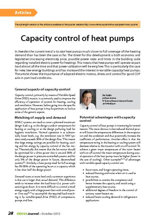 REHVA Journal 05/2012 - Capacity control of heat pumps
