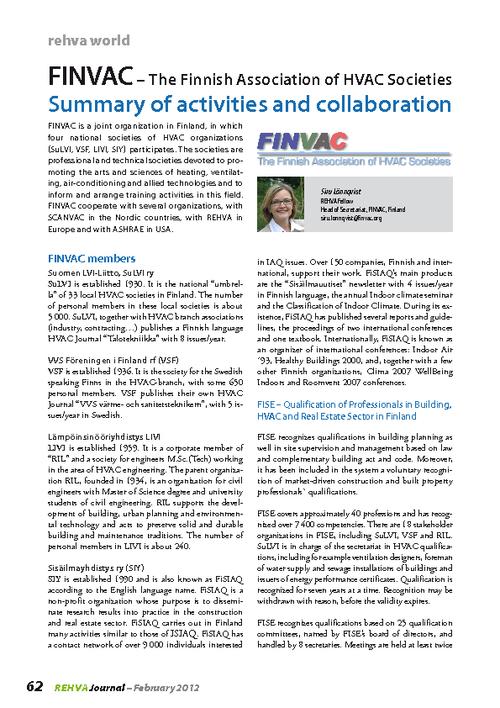 REHVA Journal 02/2012 - FINVAC – The Finnish Association of