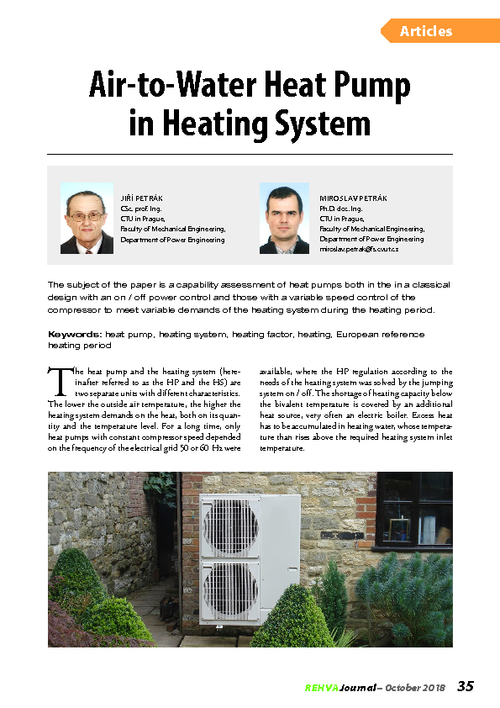 REHVA Journal 05/2018 - Air-to-Water Heat Pump in Heating System