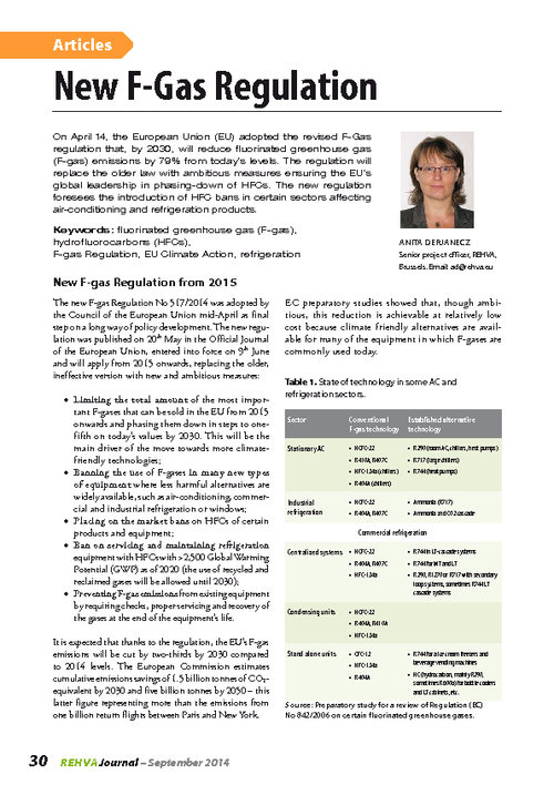 REHVA Journal 05/2014 - New F-Gas Regulation