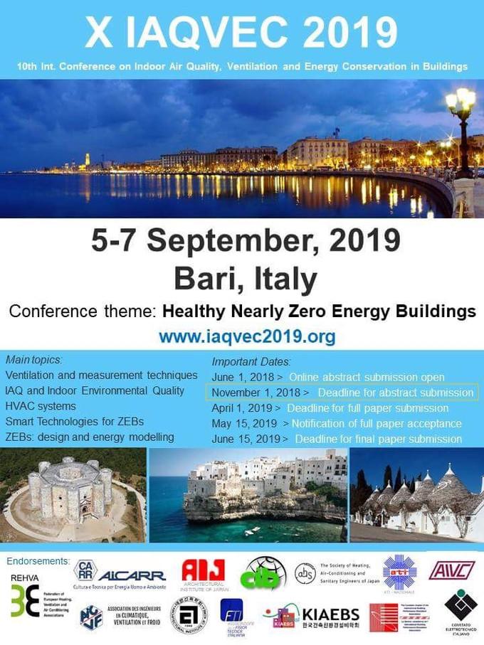 IAQVEC 2019: Healthy nearly Zero Energy Buildings