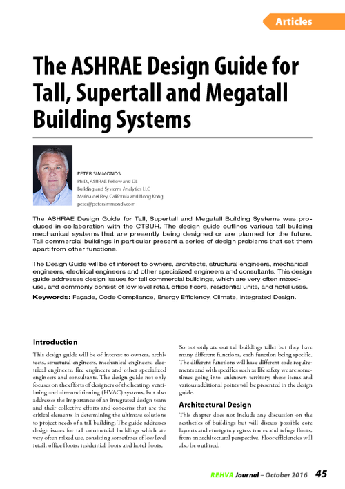 REHVA Journal 05/2016 - The ASHRAE Design Guide for Tall