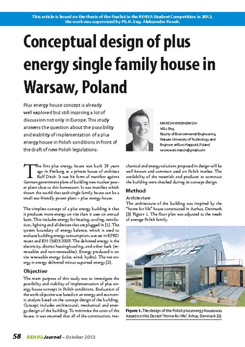 REHVA Journal 05/2013 - Conceptual design of plus energy single