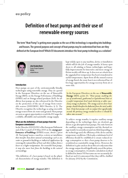 REHVA Journal 04/2011 - Definition of heat pumps and their