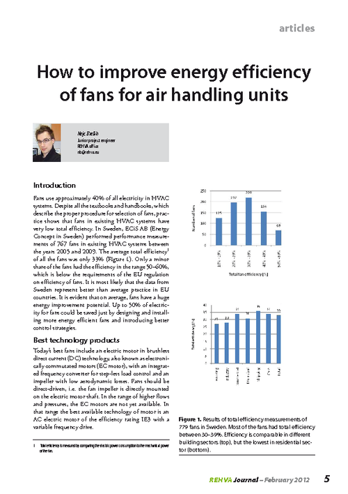 REHVA Journal 02/2012 - How to improve energy efficiency of fans for