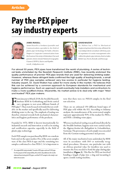 REHVA Journal 04/2018 - Pay the PEX piper say industry experts