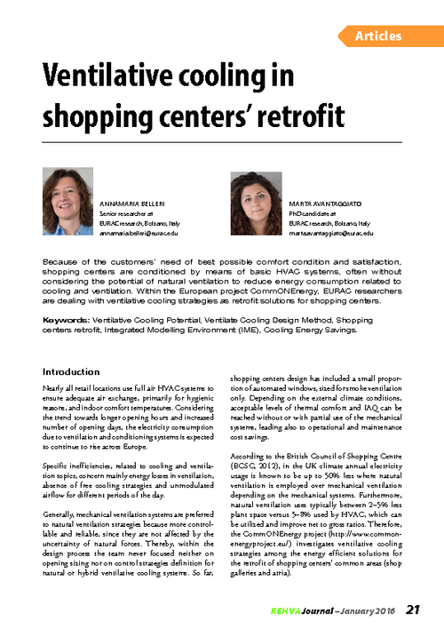 REHVA Journal 01/2016 - Ventilative cooling in shopping